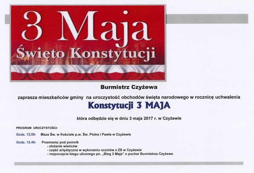 Burmistrz Czyżewa zaprasza mieszkańców gminy na uroczystość obchodów święta narodowego wrocznicę uchwalenia Konstytucji 3 Maja